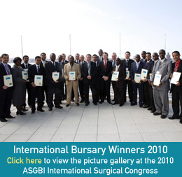 International Bursary Winners 2010 - Click here to view the picture gallery